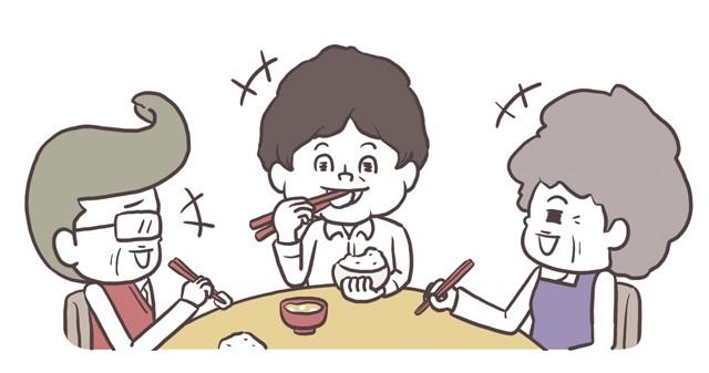 家族3人で食卓を囲む様子